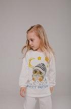 Пижама из футера с принтом (Молочный,сова)