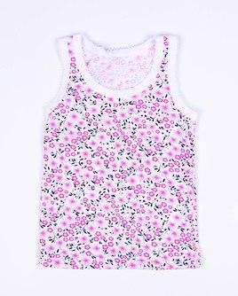 Маечка для девочки с крошетом (розовый цветы) 1