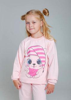 Пижама из футера с принтом (пудровый/кошка) 1